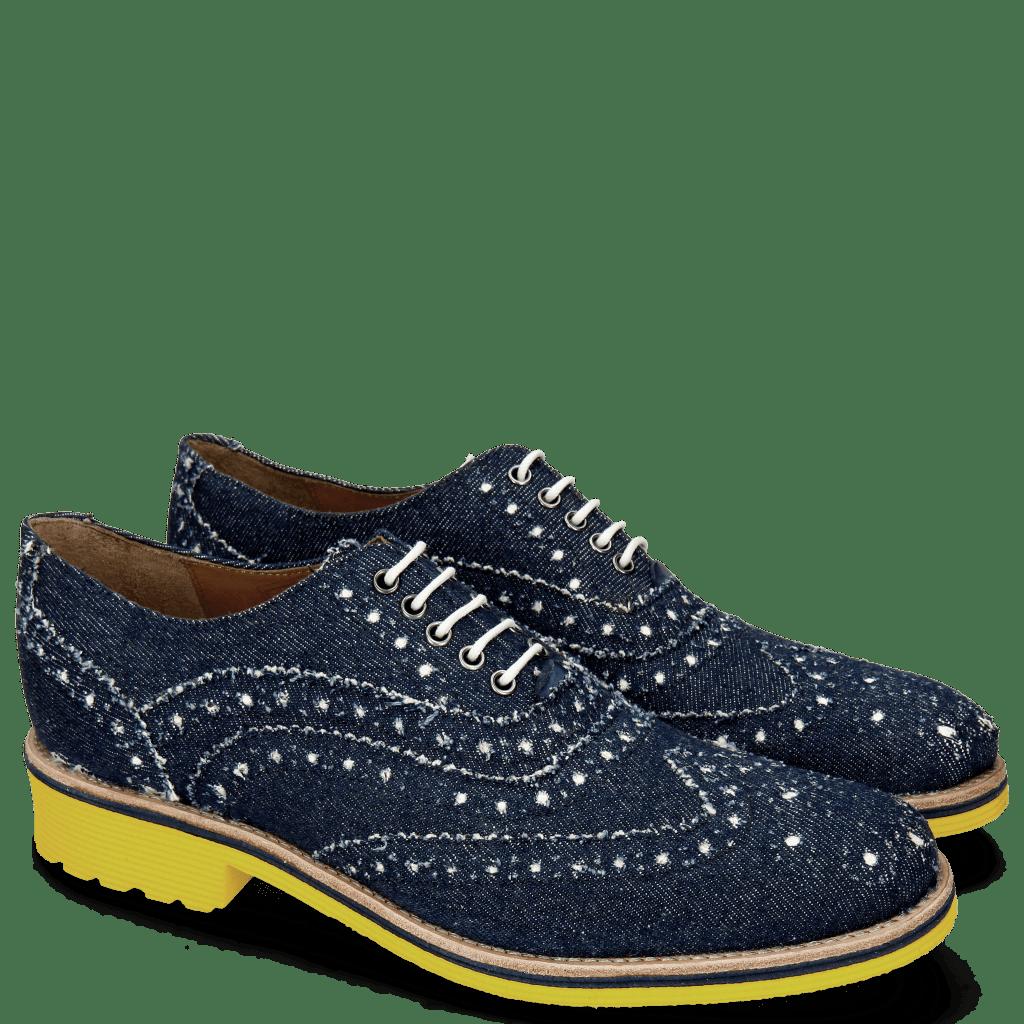 Oxford Schuhe Amelie 10 Denim Blue Underlay White