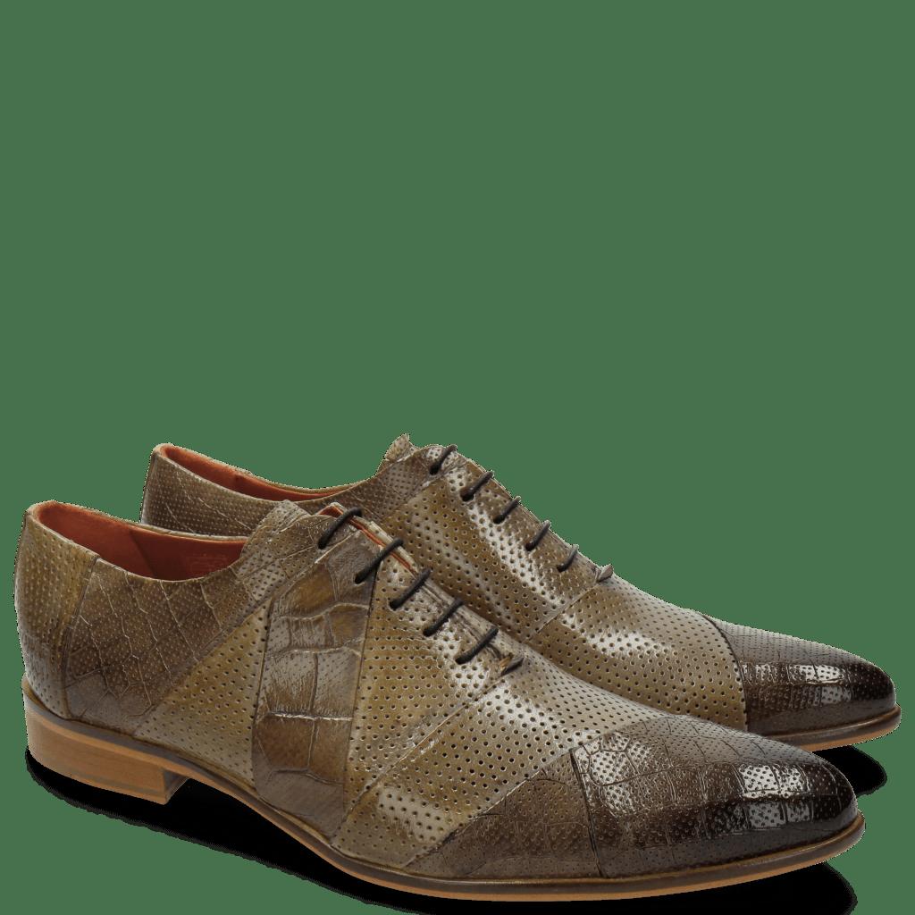 Oxford Schuhe Toni 20 Crock Perfo Big Croco Stone Oxygen