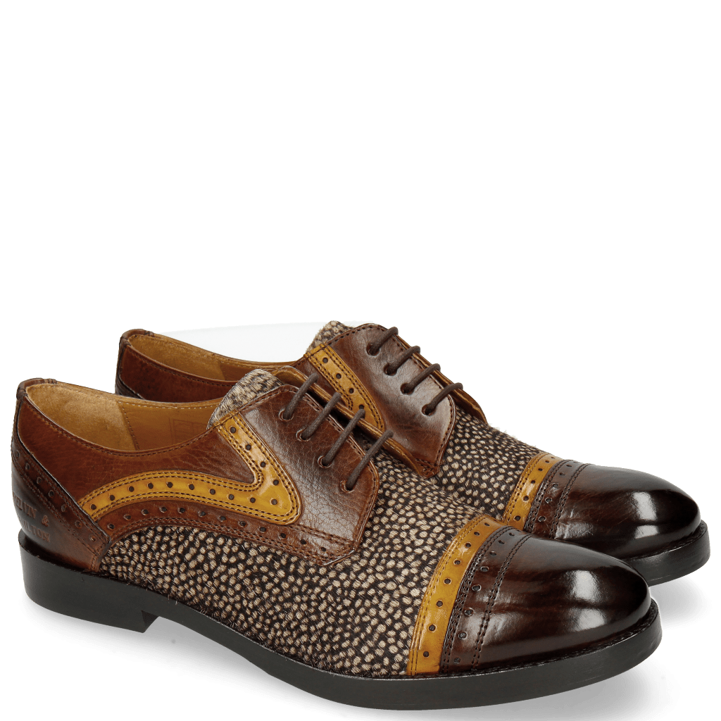 Derby Schuhe Amelie 19 Mid Brown Yellow Hairon Halftone Mogano Insole Purple