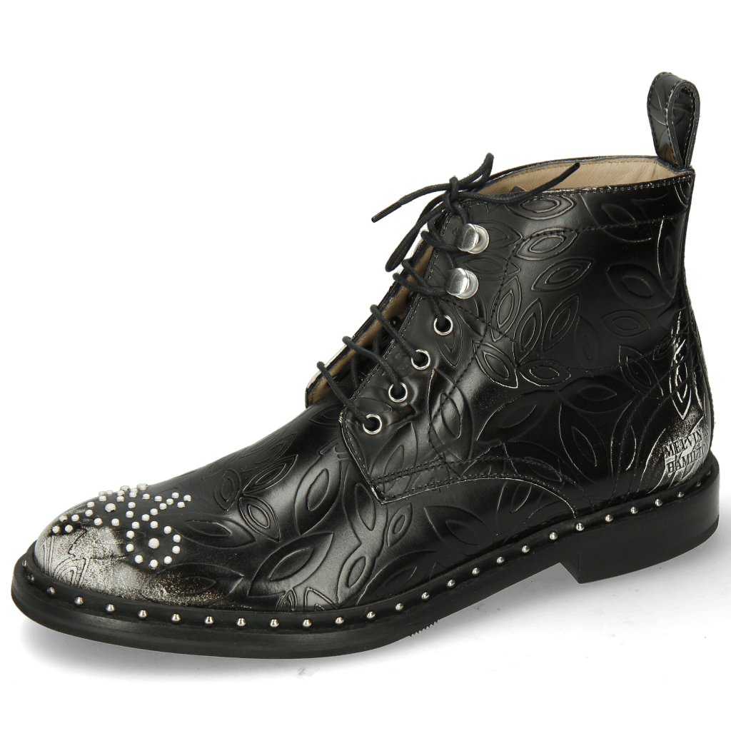 Stiefeletten Sally 109 Brush Floral White Rivets