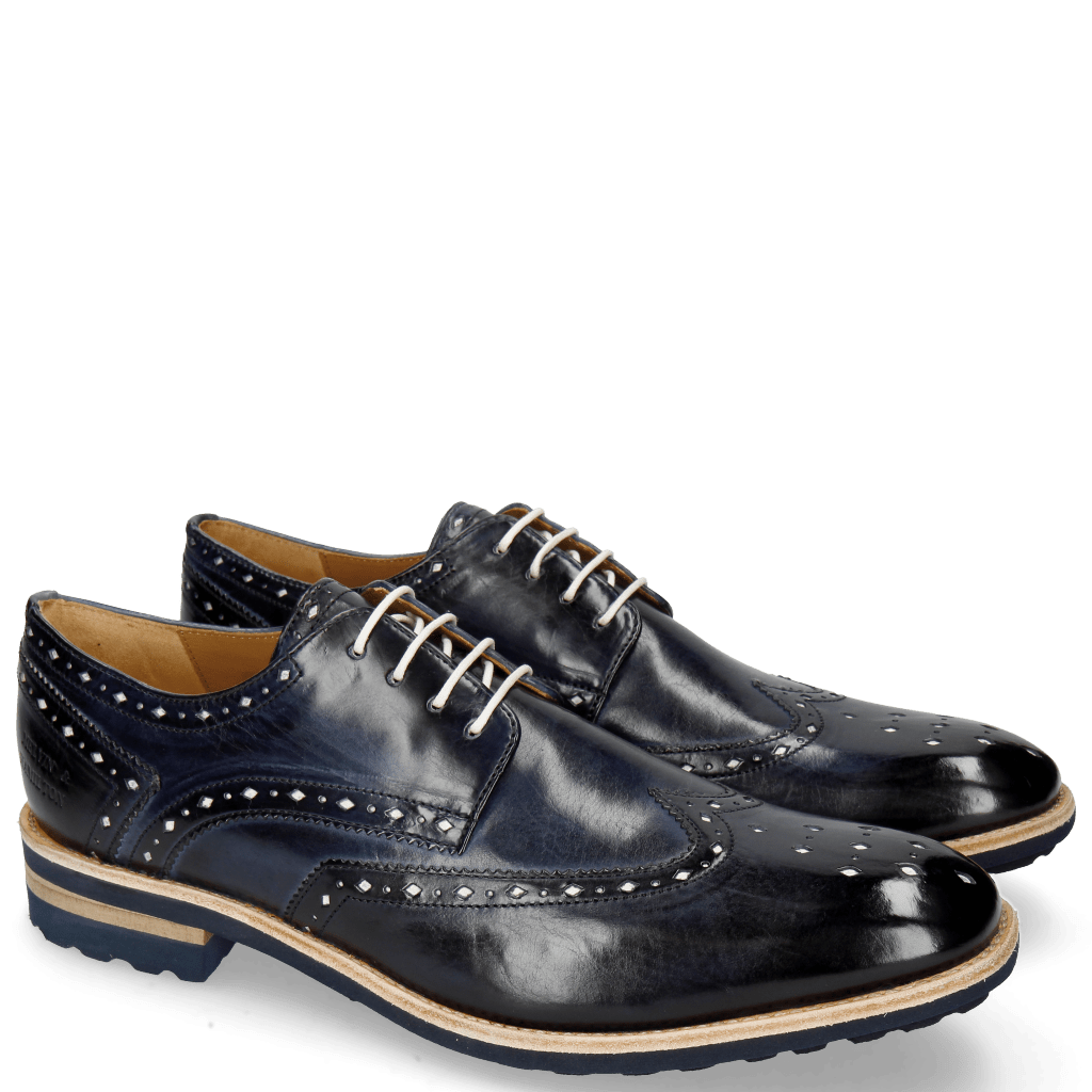 Derby Schuhe Eddy 5 Navy Soft Patent White Punch