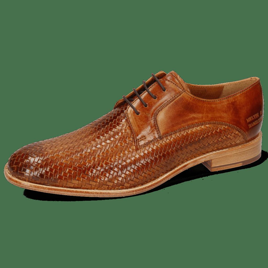 Derby Schuhe Eddy 8 Woven Haring Bone Tan