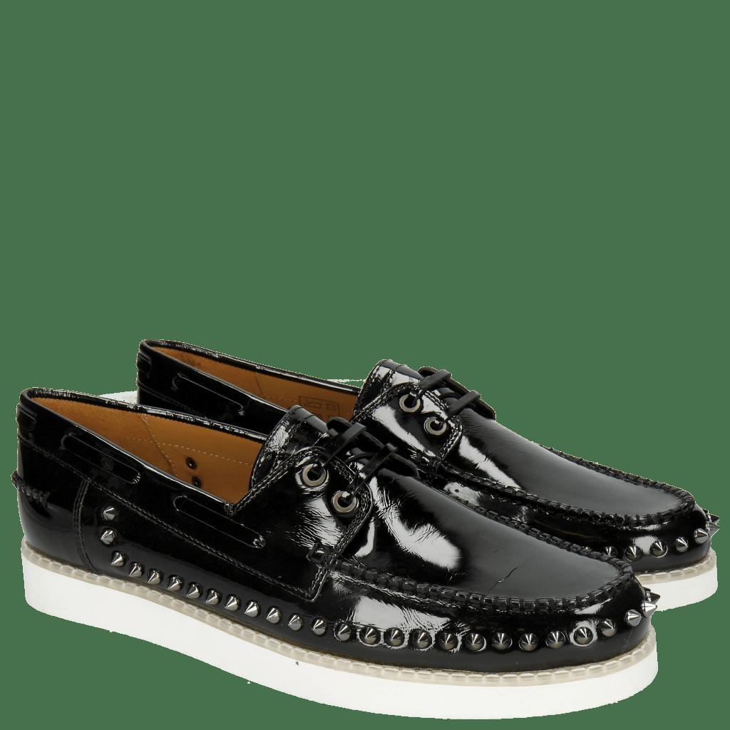 Loafers Jim 1 Soft Patent Black Rivets