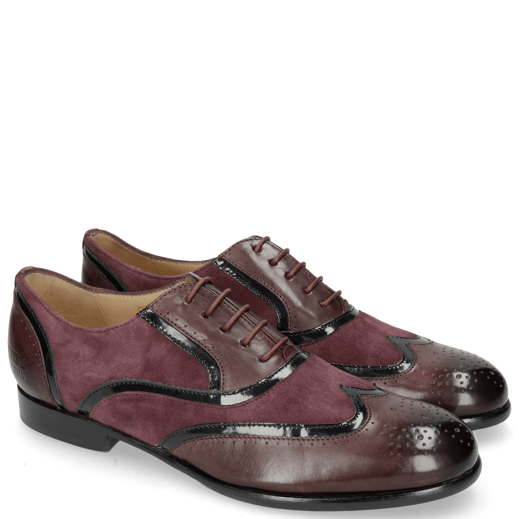 Oxford Schuhe Sally 38 Deep Pink Patent Oriental Suede Chilena