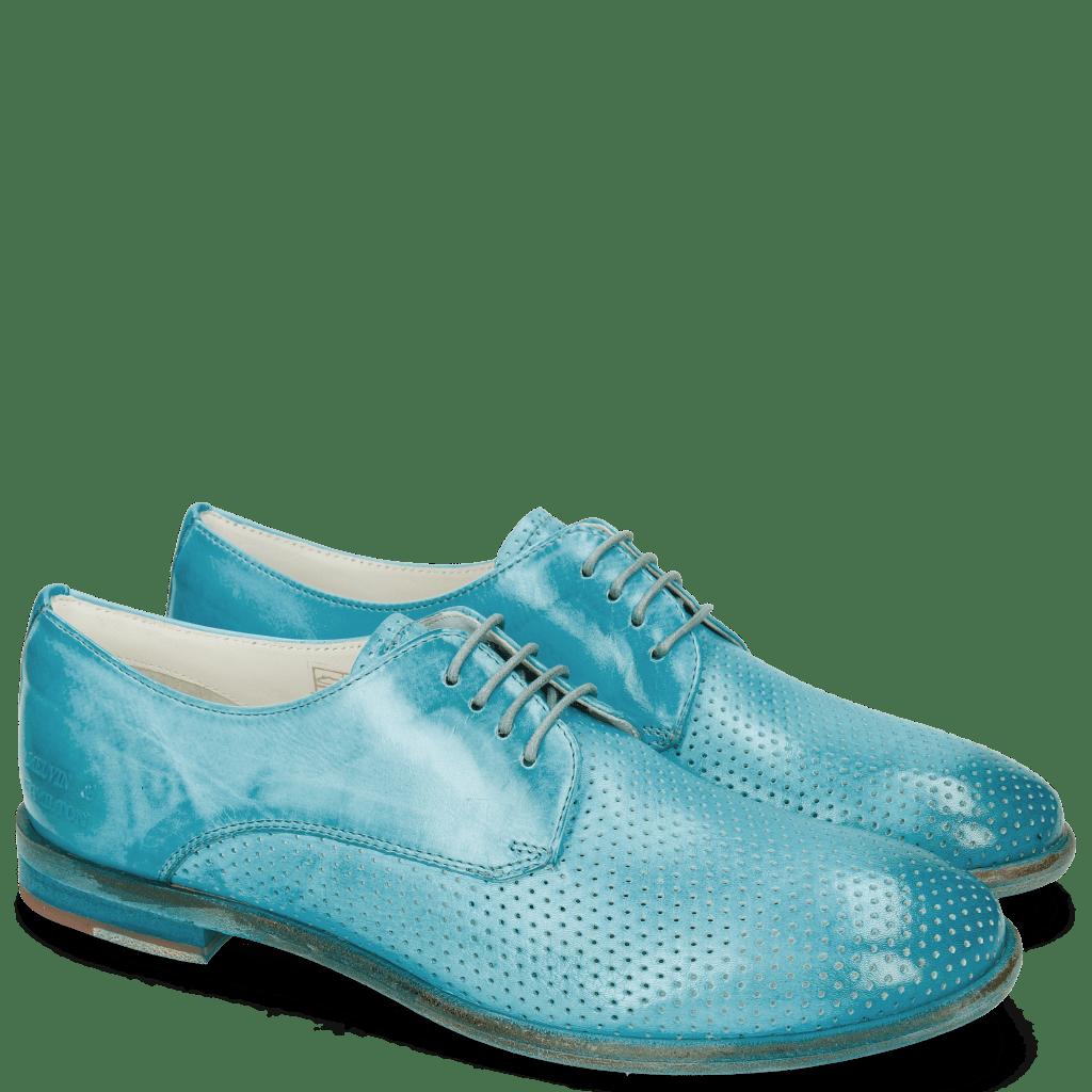 Derby Schuhe Jenny 8 Perfo Ice Blue