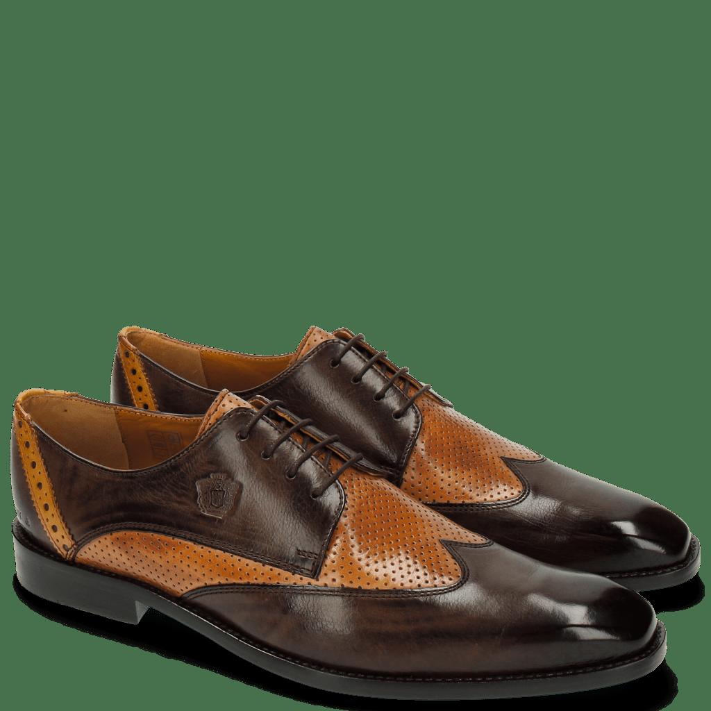 Derby Schuhe Martin 7 Berlin Perfo Dark Brown Tan Strap Yellow LS Brown