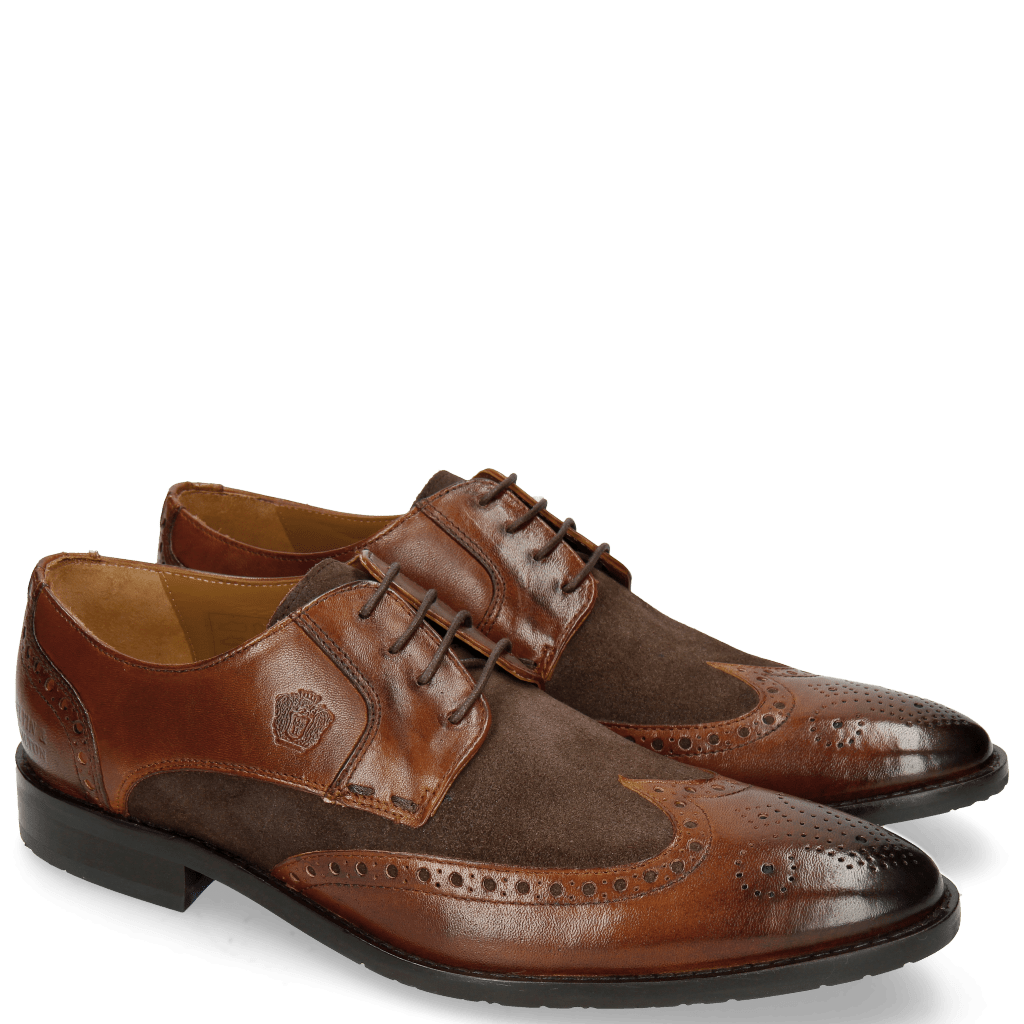 Derby Schuhe Victor 2 Rio Mid Brown Suede Chocolate Tex Blue