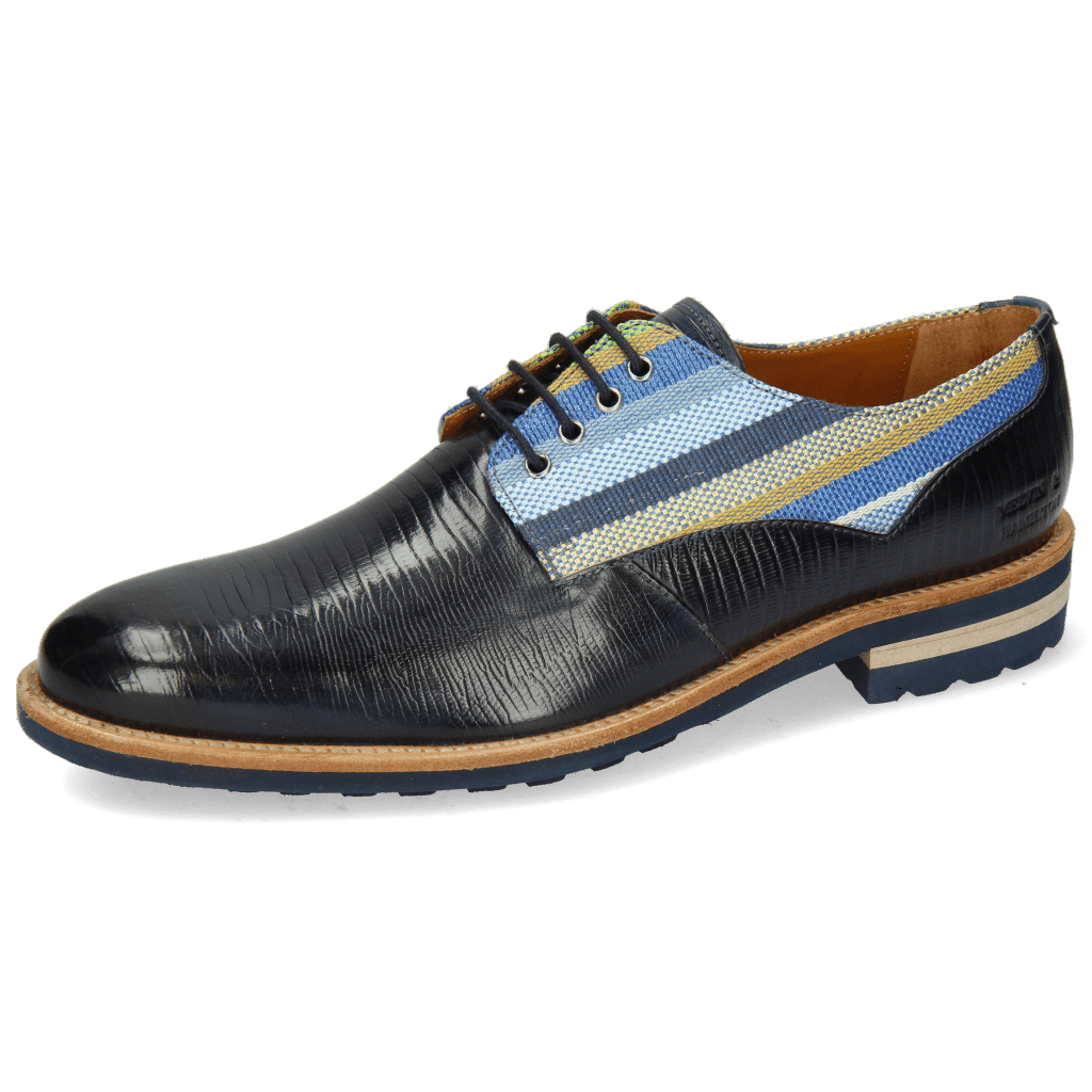 Derby Schuhe Henry 34 Guana Navy Washed