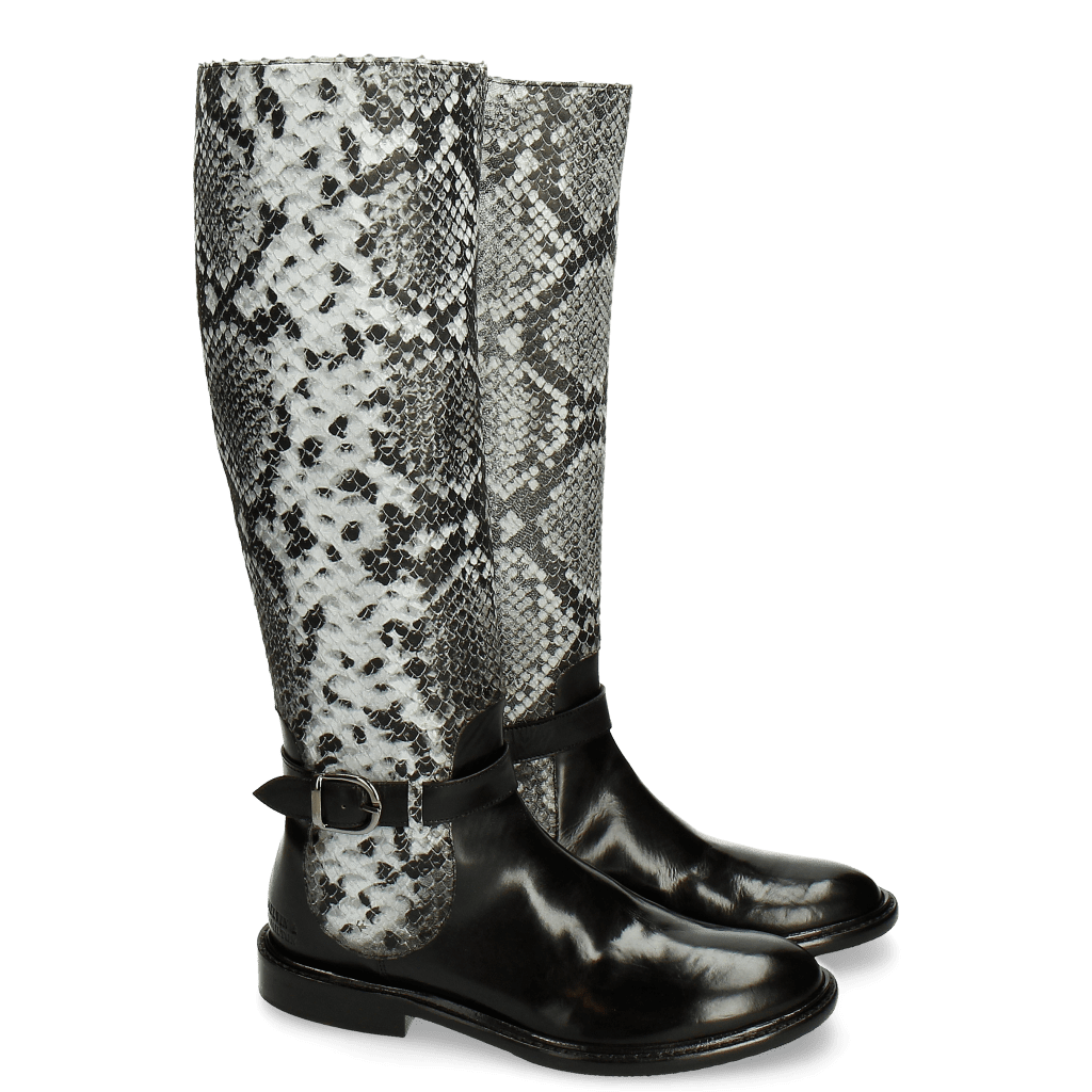 Stiefel Sally 58 Snake Black Grey Strap Black New HRS Thick