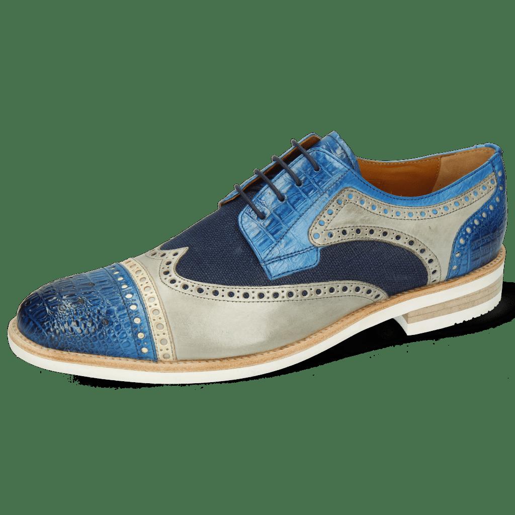 Derby Schuhe Henry 7 Vegas Baby Croco Mid Blue Nude Digital