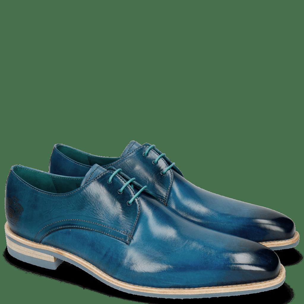 Derby Schuhe Lance 24 Bluette Lasercut Crown