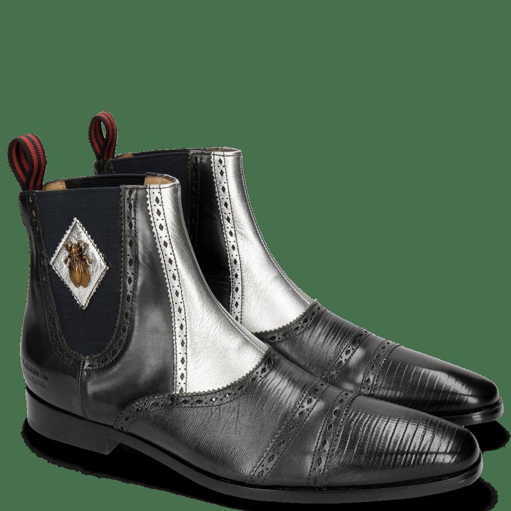 Stiefeletten Elvis 55 Guana Black Nappa Aztek Silver