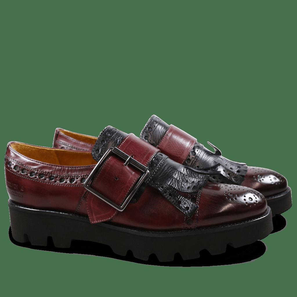 Monk Schuhe Amelie 52 Burgundy Kilty Black Buckle Gunmetal 543 Black