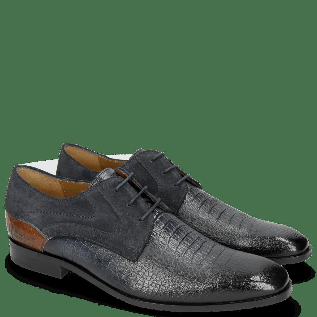 Derby Schuhe Rico 14 Venice Baby Croco Navy Wood Suede Pattini Navy