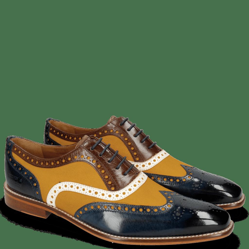 Oxford Schuhe Leonardo 21 Navy Canvas Kumquat Vegas White Dark Brown