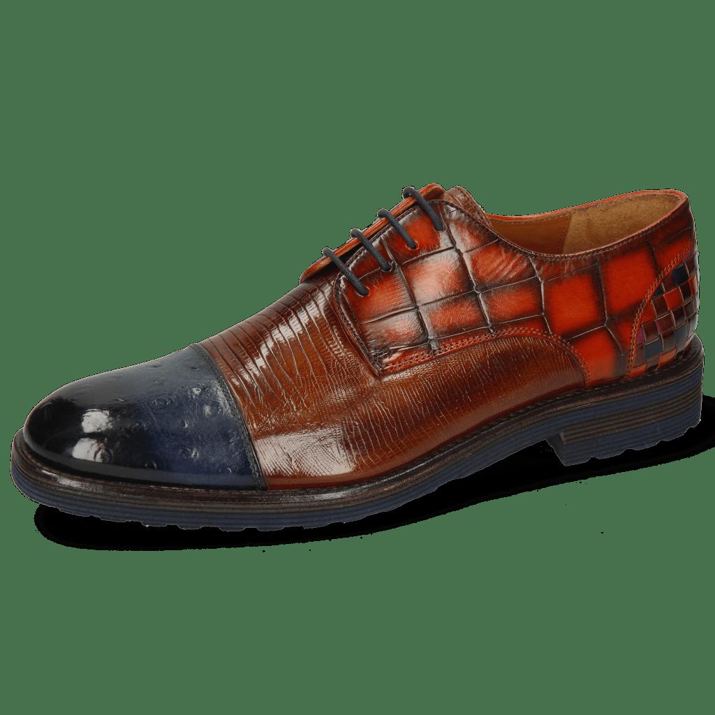 Derby Schuhe Eddy 11 Ostrich Navy Lizzard Wood Turtle Winter Orange