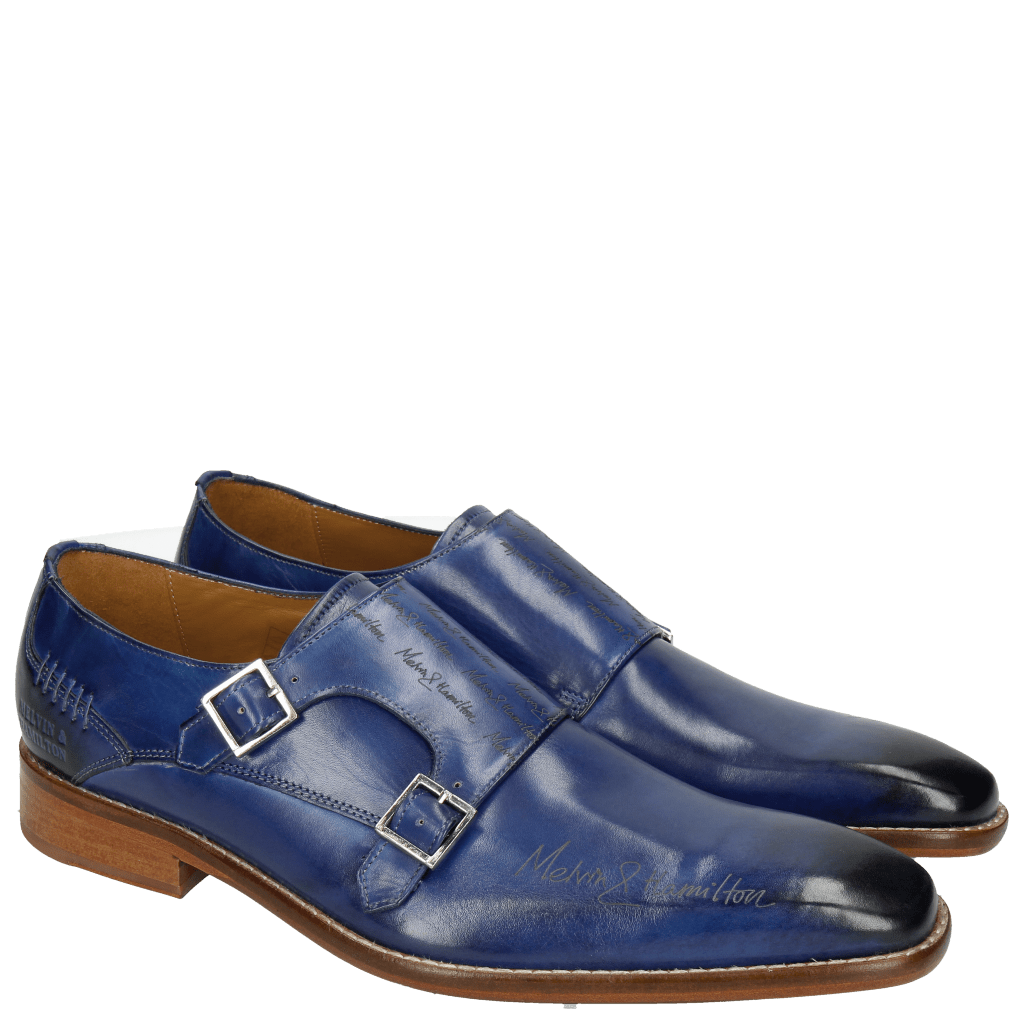 Monk Schuhe Clark 12 China Blue Lasercut LS Natural