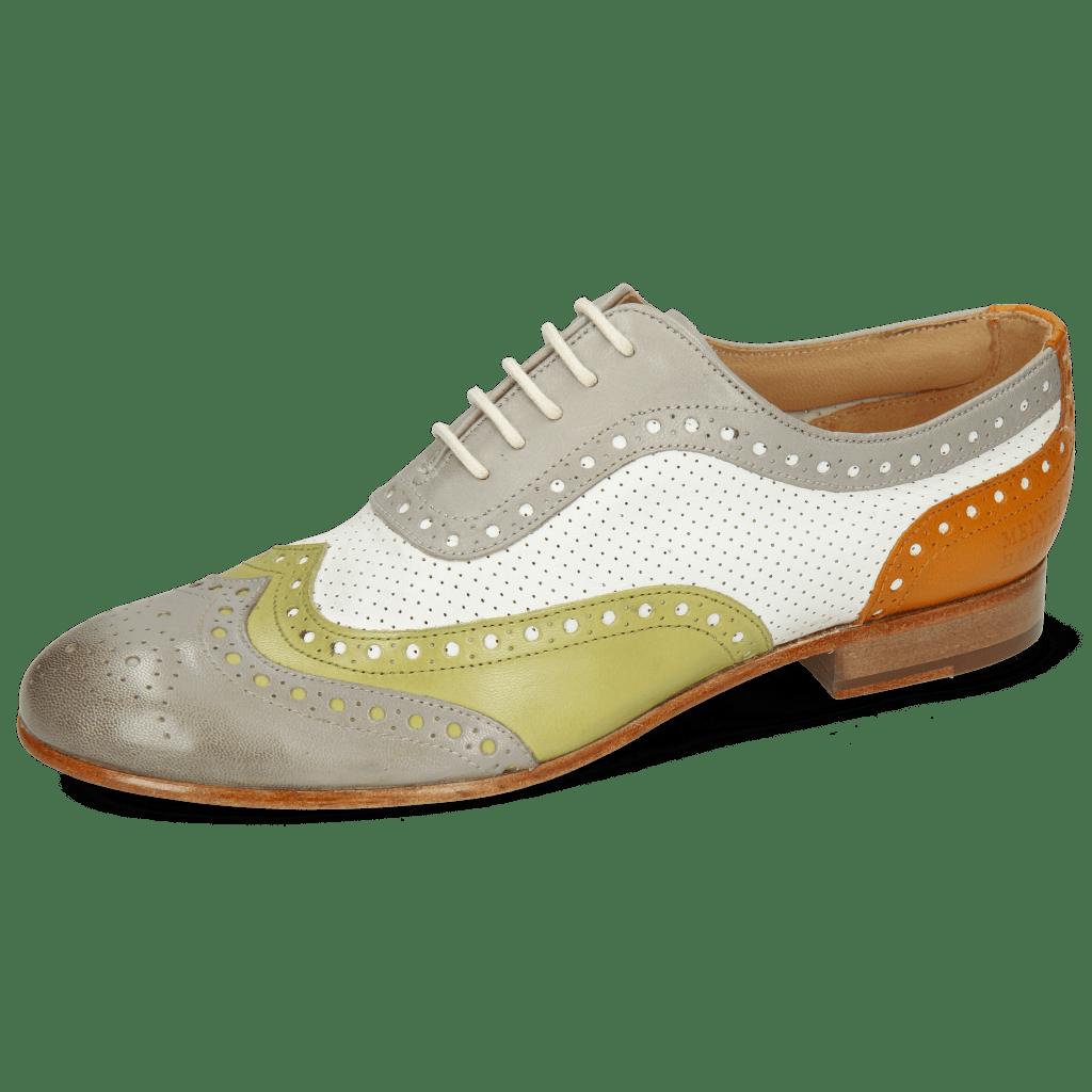 Oxford Schuhe Sally 97 Salerno Light Grey Mint Orange Nappa Perfo White