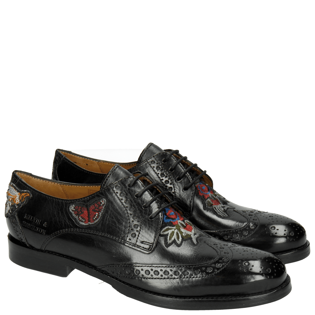 Derby Schuhe Amelie 46 Crust Black Embrodery