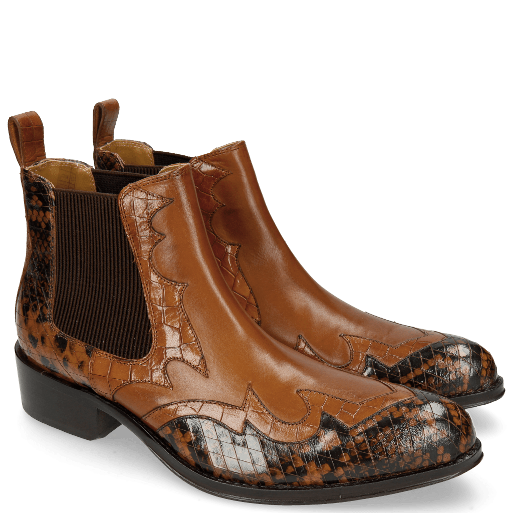 Stiefeletten Hugo 2 Python Brown Crock Wood Tan