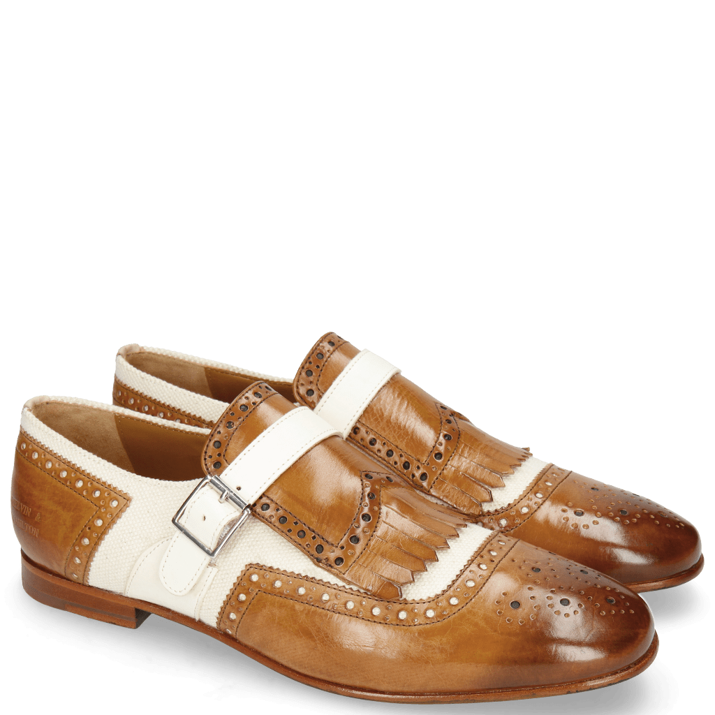Monk Schuhe Clive 17 Tan Canvas Off White Strap