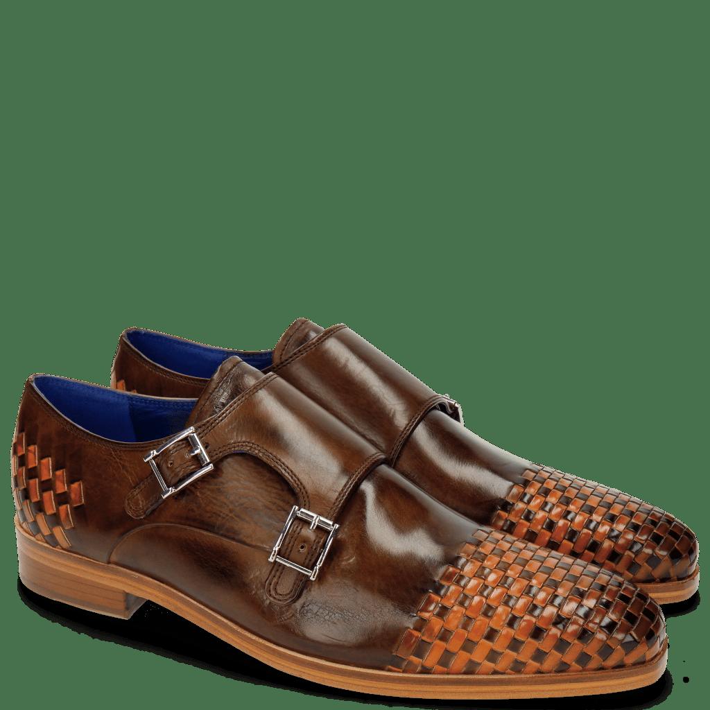 Monk Schuhe Lewis 16 Mid Brown Interlaced Orange
