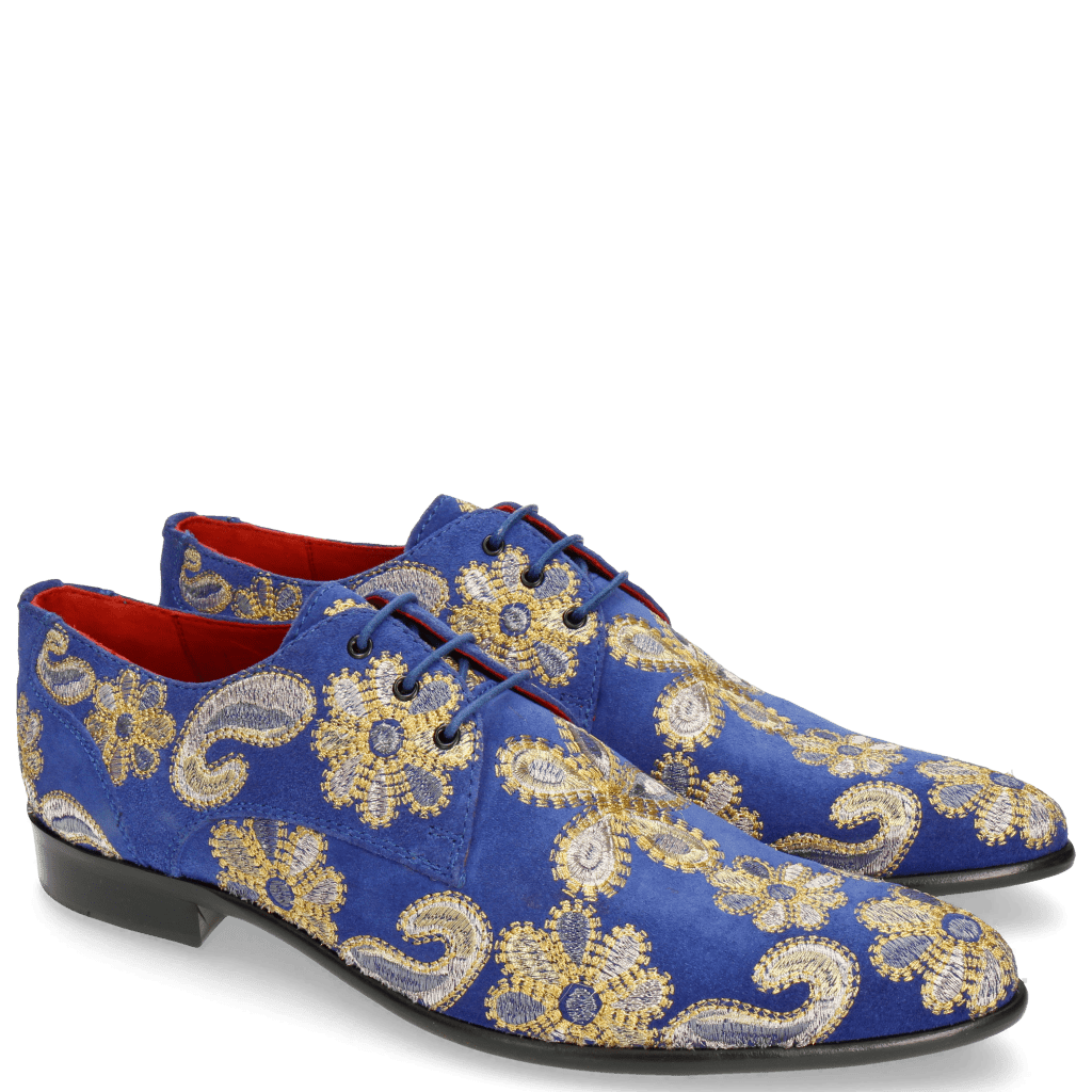 Derby Schuhe Toni 1 Suede Electric Blue Embrodery Paisley