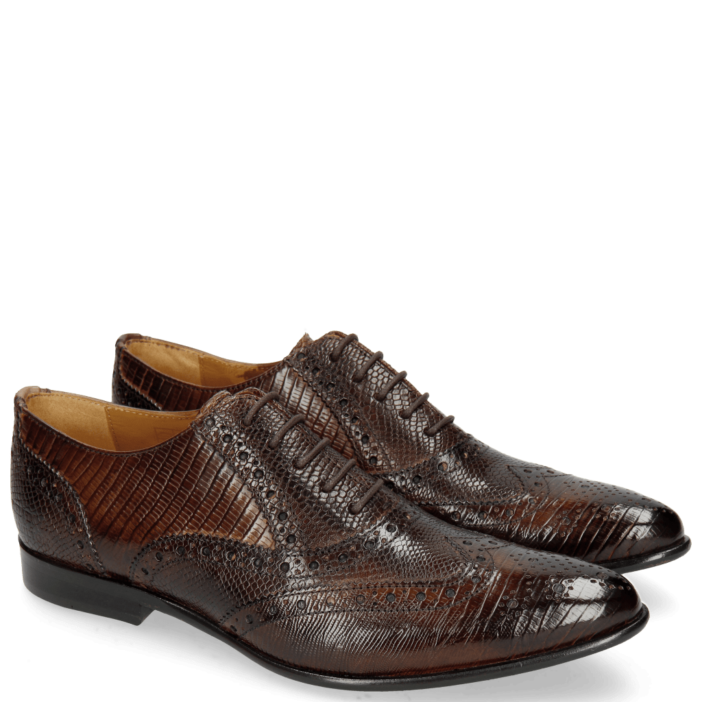 Oxford Schuhe Keira 10 Lizzard Mid Brown Phyton Brown