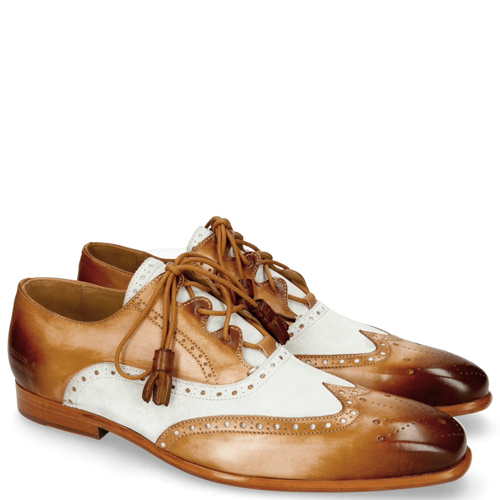 Derby Schuhe Lance 40 Tan Washed Off White