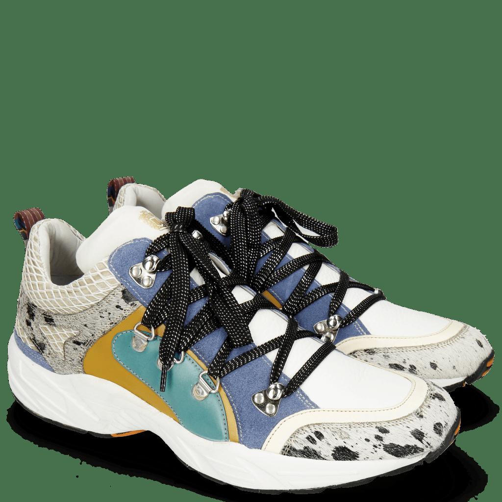Sneakers Magic 1  Hairon Jersey Metallic Black White Milled White Suede Pattini Mid Blue