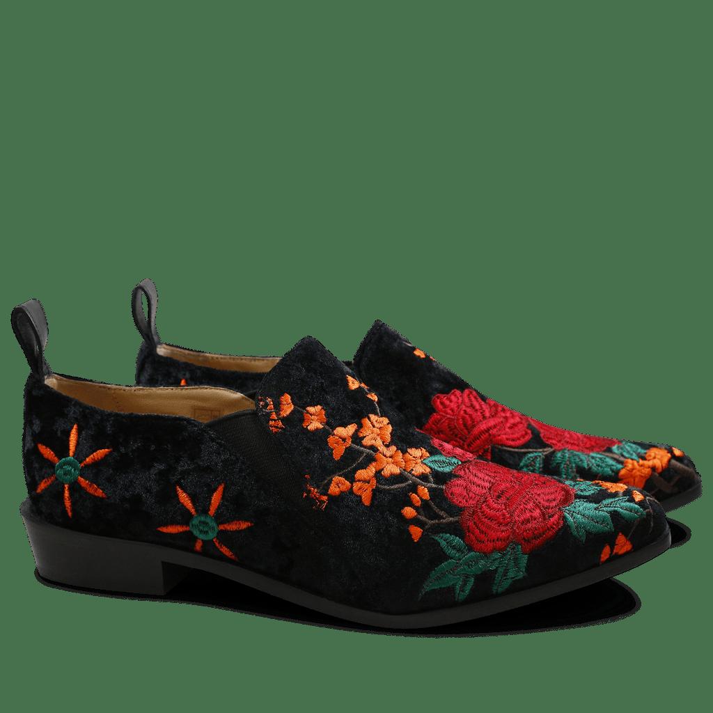 Loafers Marlin 5 Velvet Black Embrodery Elastic Black LS Black