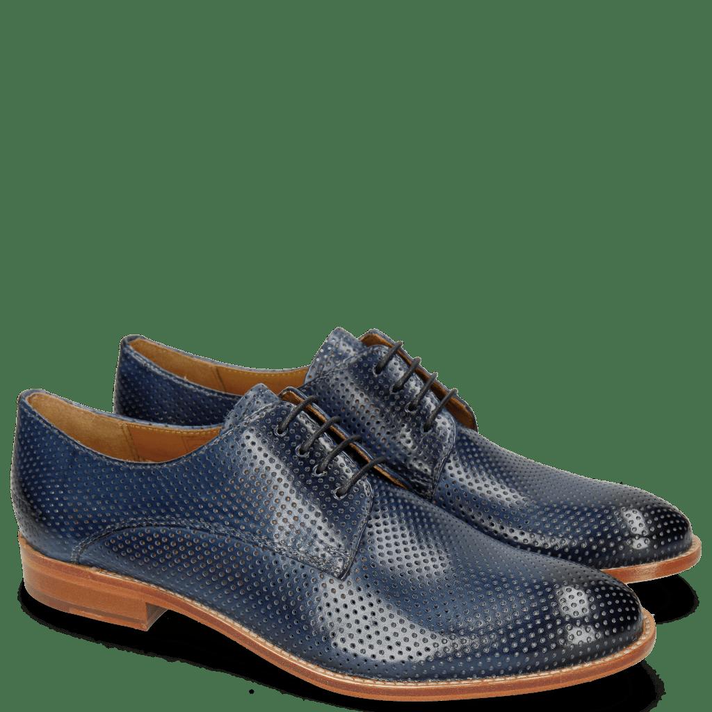 Derby Schuhe Amelie 14 Perfo Marine