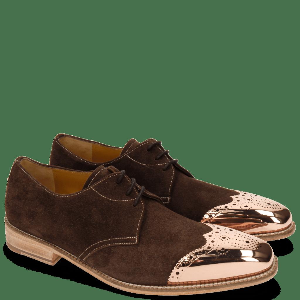 Derby Schuhe Lance 4 MTC MTC Suede Pattini Dark Brown LS Raw