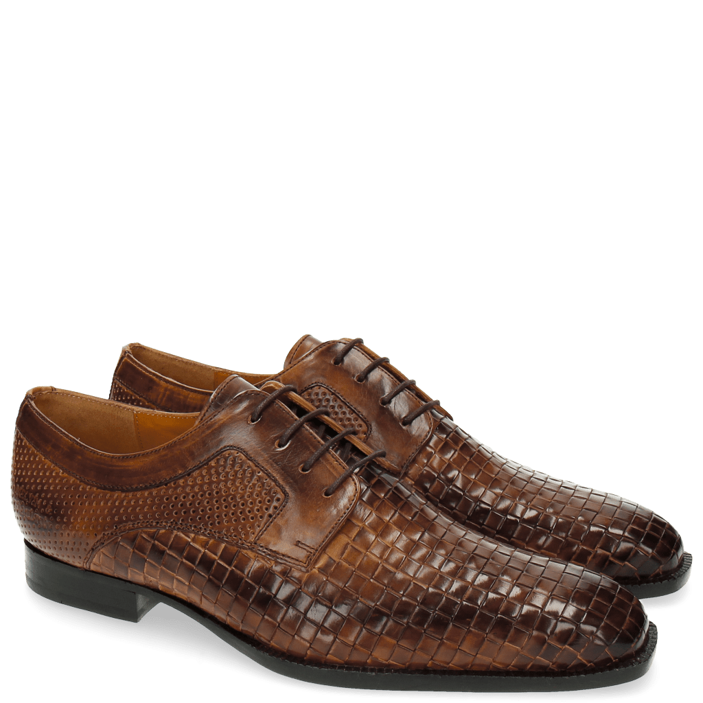 Derby Schuhe Woody 10 Perfo Mesh Tan LS Brown