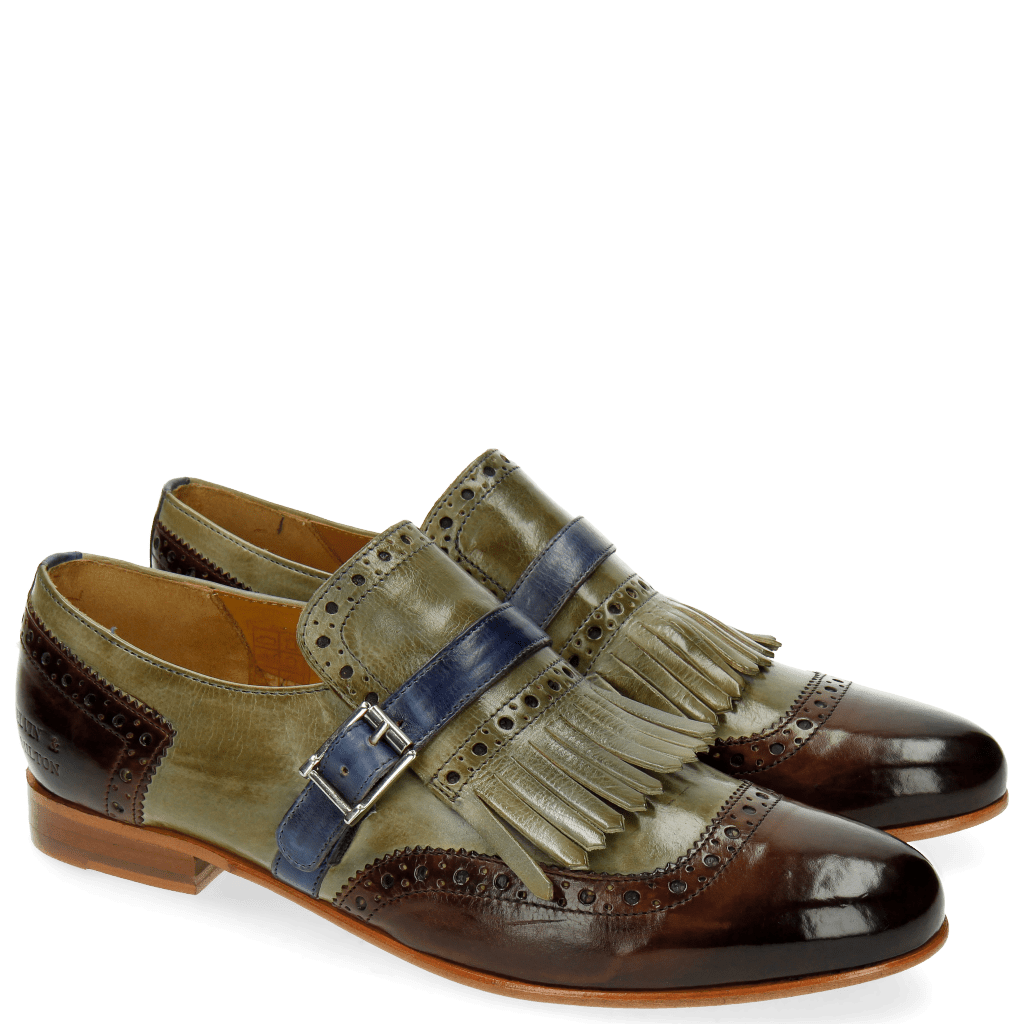Monk Schuhe Selina 2 Mid Brown Clear Water Moroccan Blue