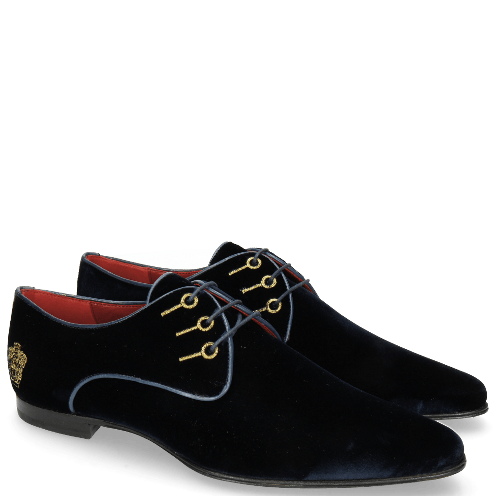 Derby Schuhe Sidney 7 Velluto Night Blue Embroidery Gold
