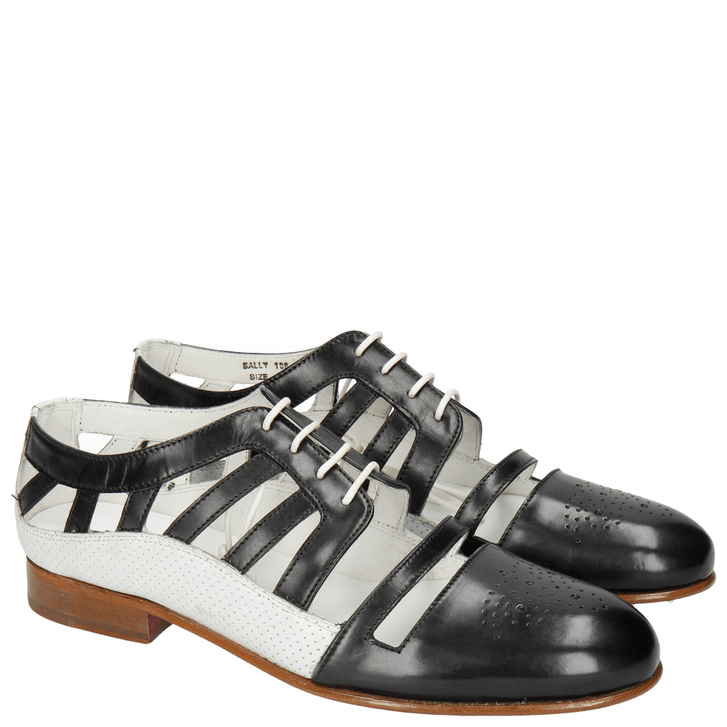 Oxford Schuhe Sally 105 Black Nappa Perfo White