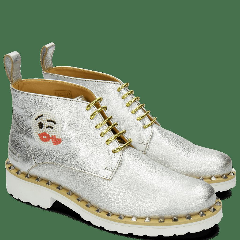 Stiefeletten Bonnie 9 Cherso White Silver Emoji Kiss