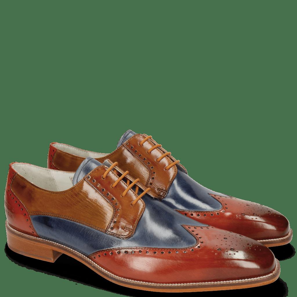 Derby Schuhe Jeff 14 Orange Moroccan Blue Tan Sand