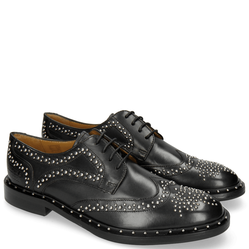 Derby Schuhe Sally 53 Black Rivets Outside
