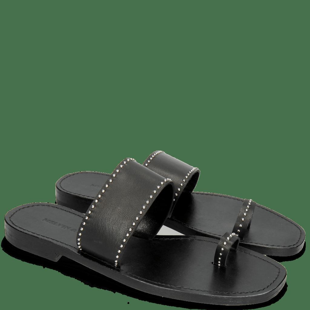 Pantoletten Elodie 19 Salerno Black Rivets
