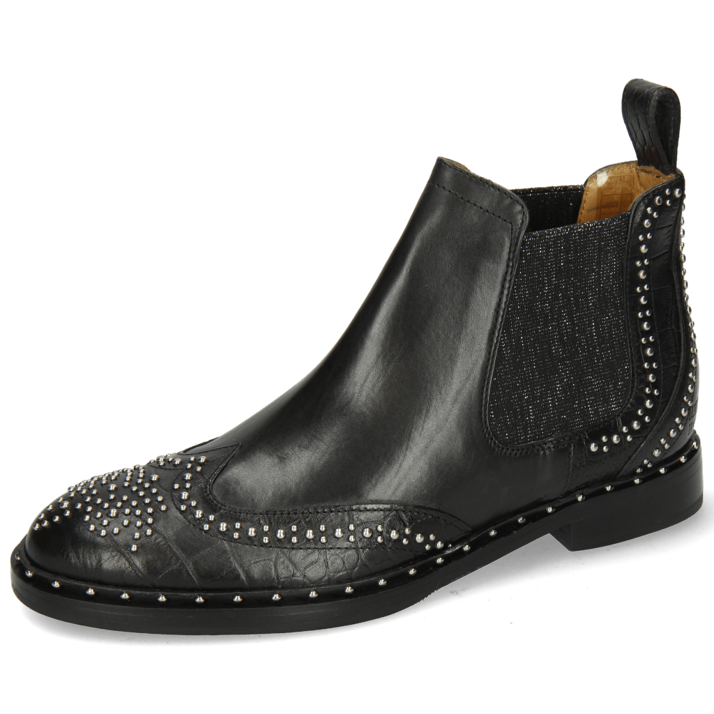 Stiefeletten Sally 45 Big Croco Black Rivets