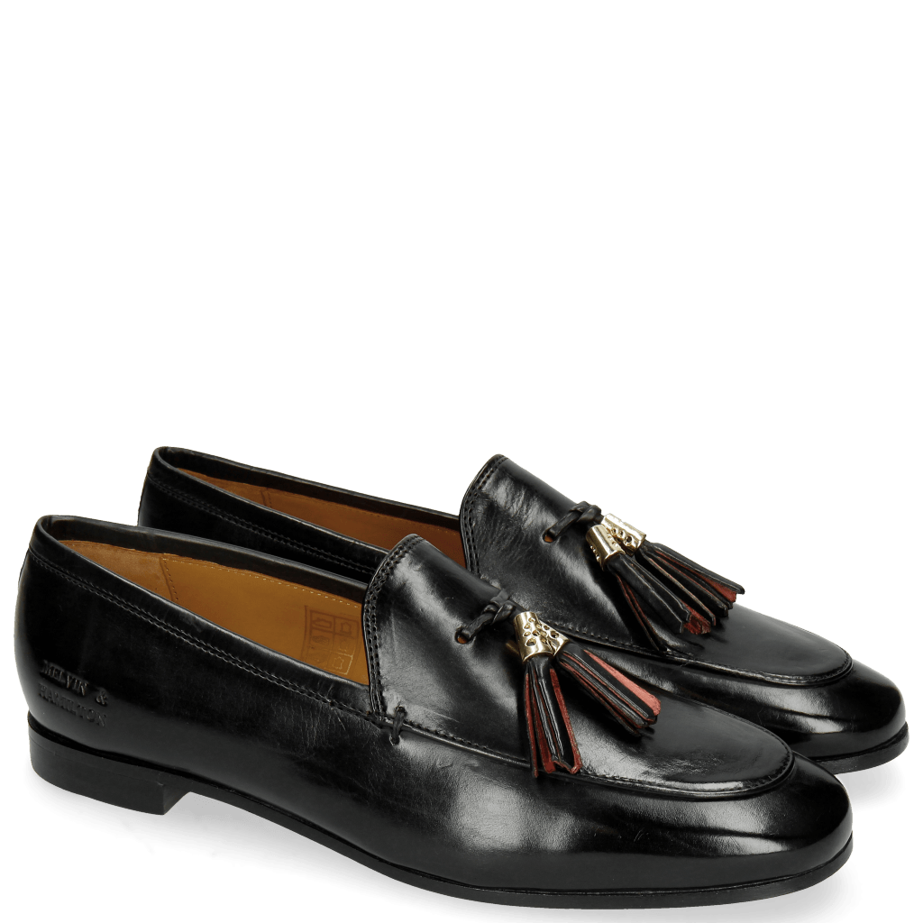 Loafers Scarlett 3 Black Tassel Black Red