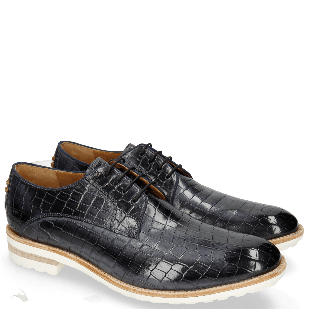 Derby Schuhe Eddy 8 Crock Navy Embroidery Officer Gold