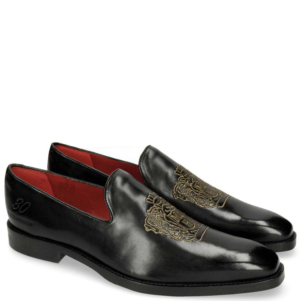 Loafers Leonardo 7 Black Embrodery M&H Crown