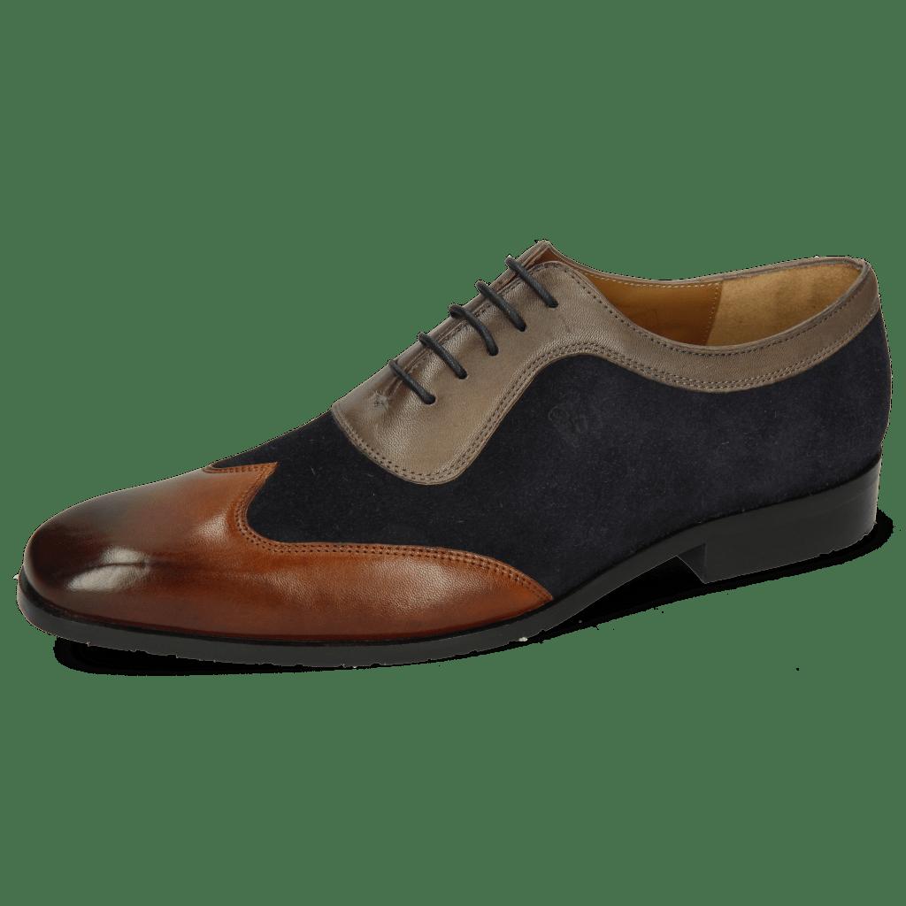 Oxford Schuhe Rico 8 Rio Mid Brown Suede Pattini Perfo Navy Stone