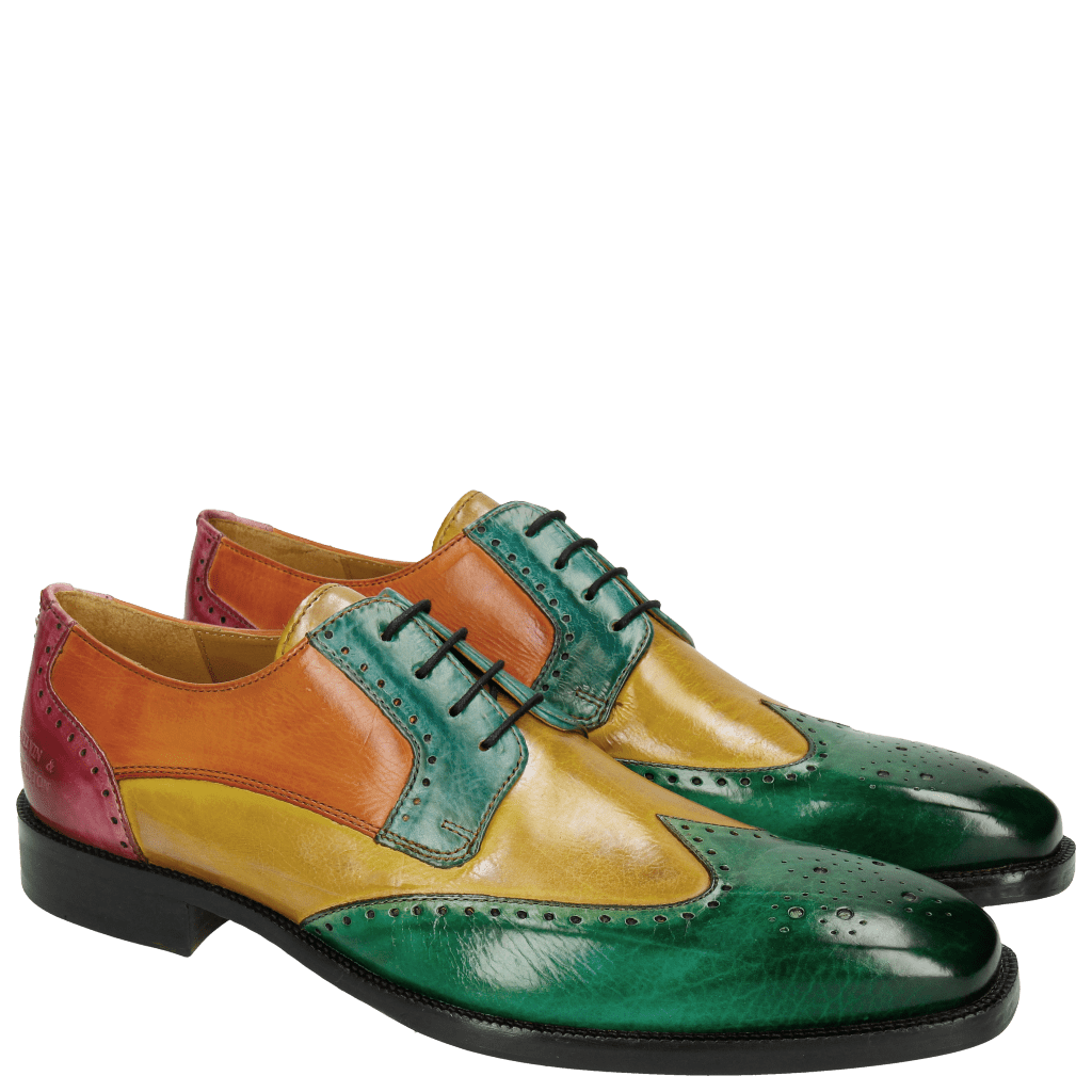 Derby Schuhe Jeff 14 Electric Green Electric Yellow Turquoise Electric Orange Fuxia