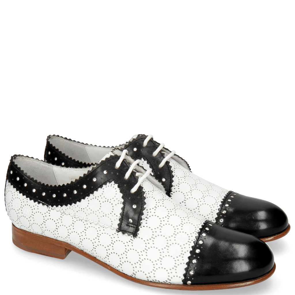 Derby Schuhe Sally 107 Black Nappa Perfo White