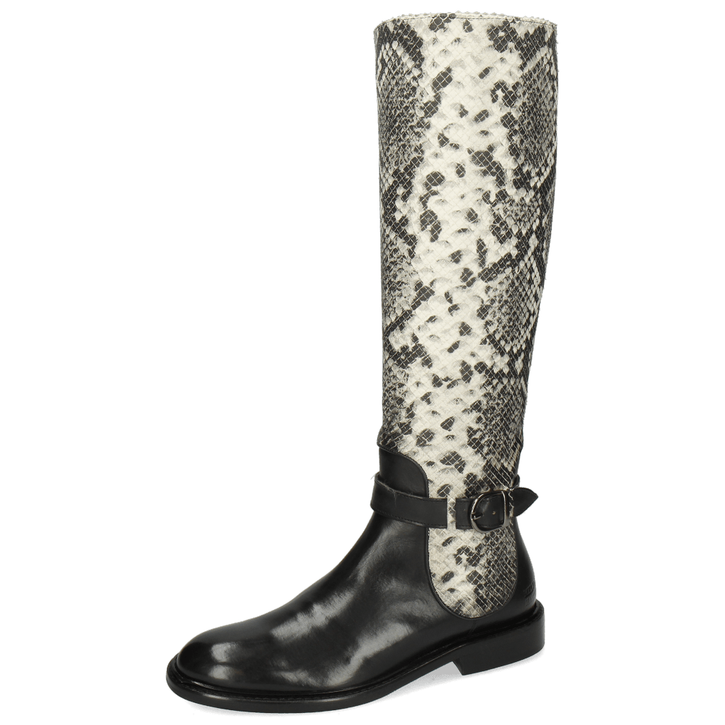 Stiefel Sally 59 Black Python Off White