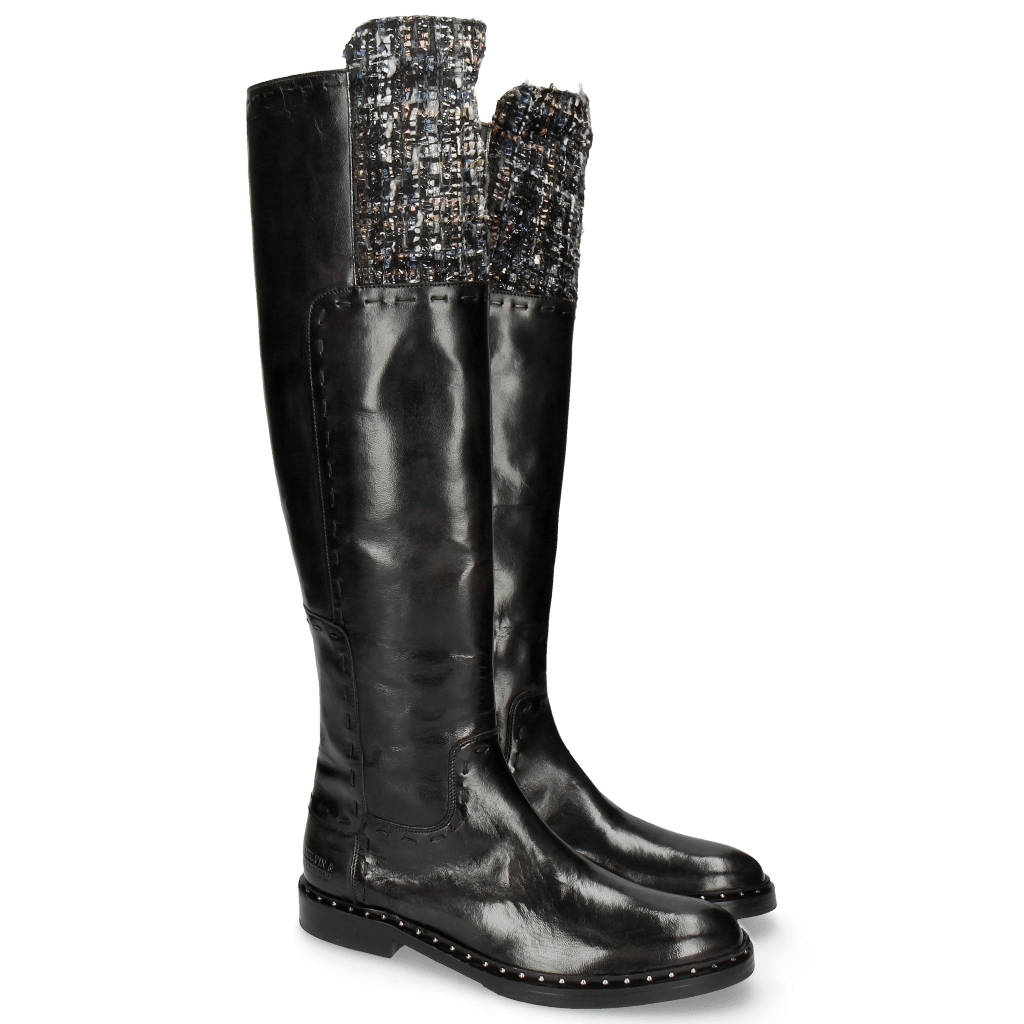 Stiefel Sally 61 Rio Black Textile Spark Rivets Welt